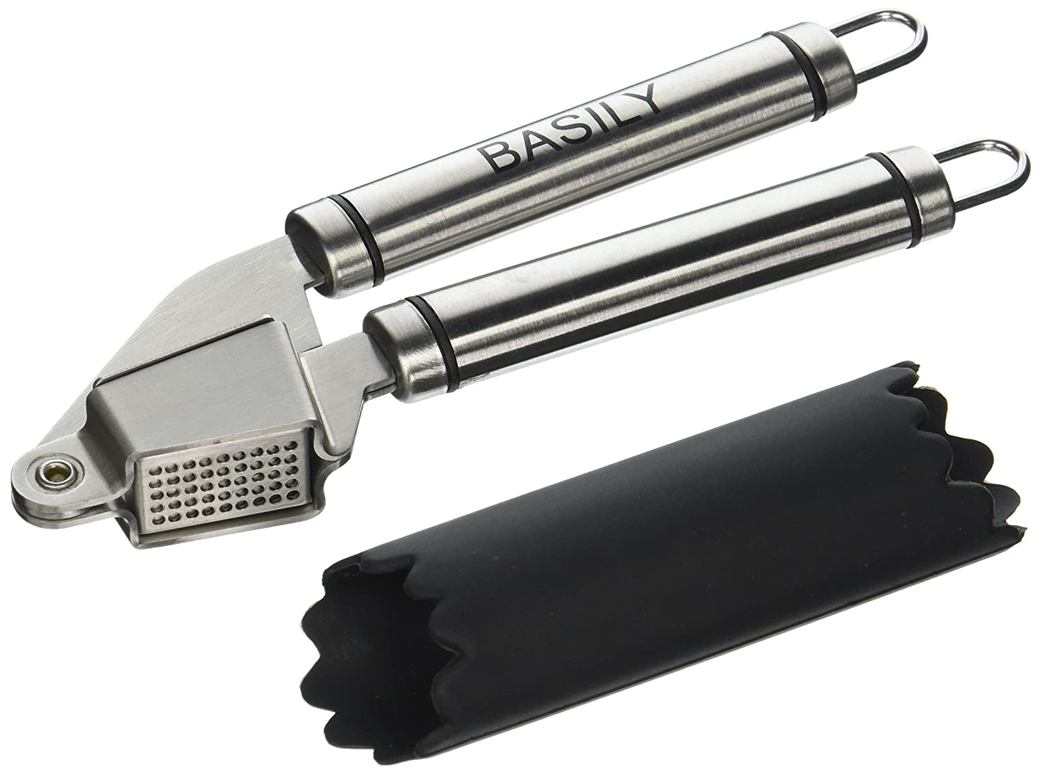 Basily Garlic Press - Garlic Peeler Premium Stainless Steel Grade - Silicon Rolling Tube Peeler Included, Stainless Steel ynf7466
