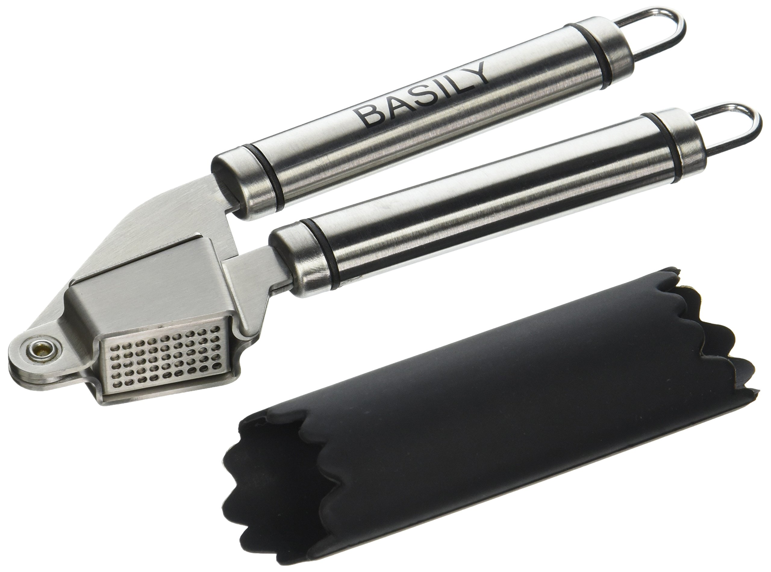 Basily Garlic Press - Garlic Peeler Premium Stainless Steel Grade - Silicon Rolling Tube Peeler Included, Stainless Steel by Basily