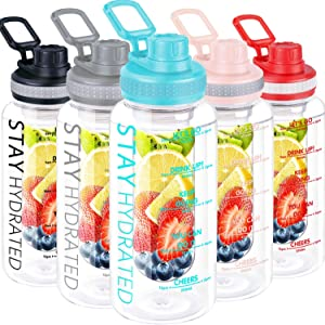 32oz Fruit Infuser Water Bottle, Large Motivational Water Bottle with Time Marker, Leak Proof Fruit Infused Water Bottles with Infusion Rod, Tritan BPA Free Water Bottle Jug for Home Sports Outdoors