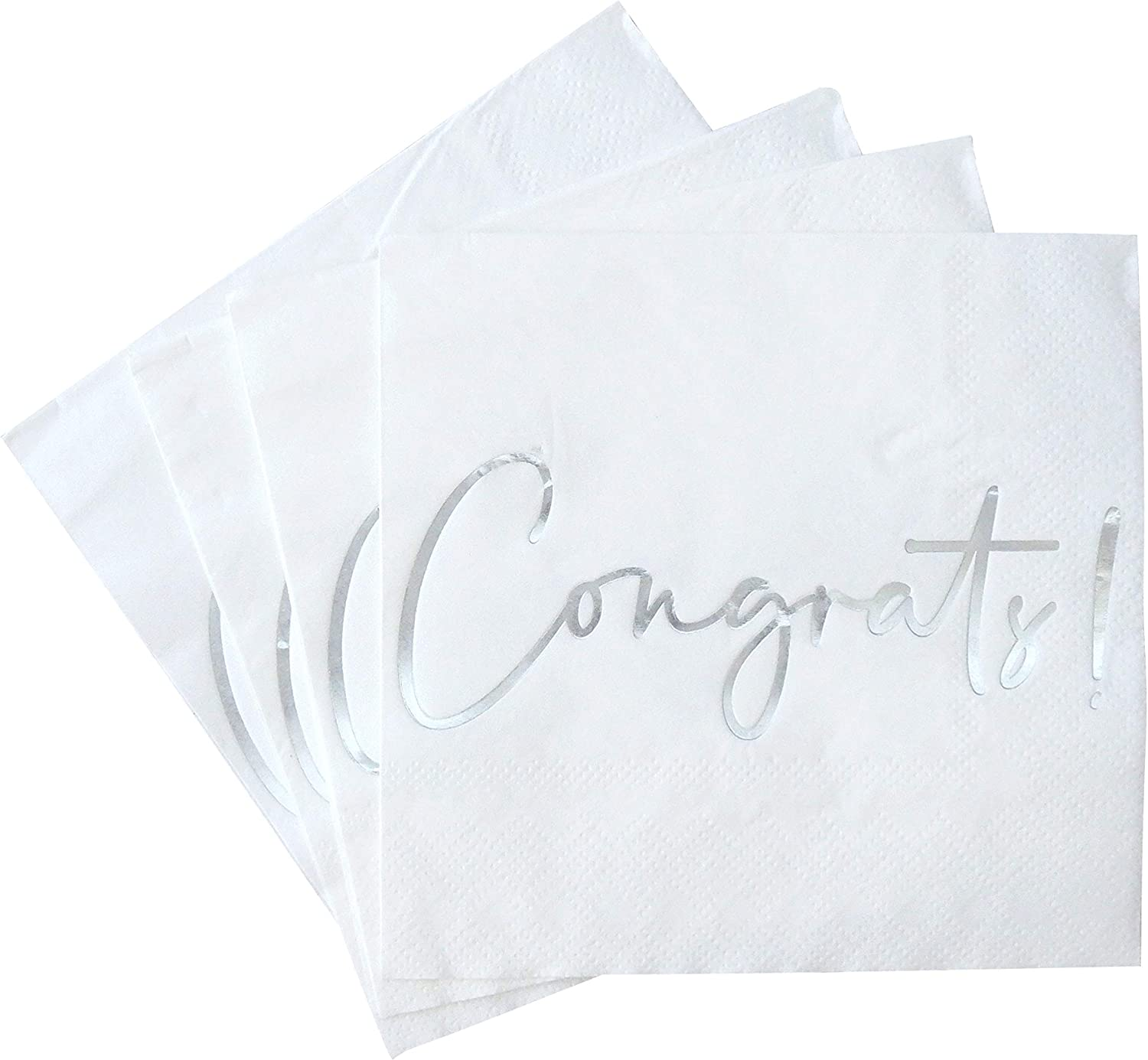 Congratulations Cocktail Napkins - 50 Pack Silver Foil