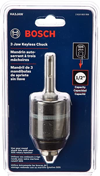 Bosch HA3JAW 1//2-Inch 3-Jaw Keyless Chuck with SDS-plus Shank