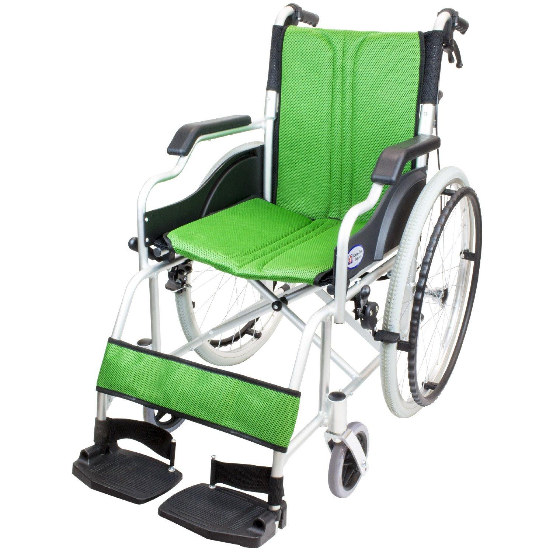 ケアテックジャパン 自走式車椅子 ハピネスコンパクト CA-10SUC (グリーン) B079T4DRQW グリーン グリーン