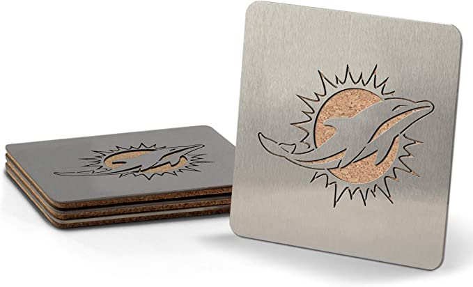 """Amazon.com : YouTheFan NFL Miami Dolphins Boaster Stainless Steel Coaster Set of 4, 4"""" x 4"""" : Sports & Outdoors"""