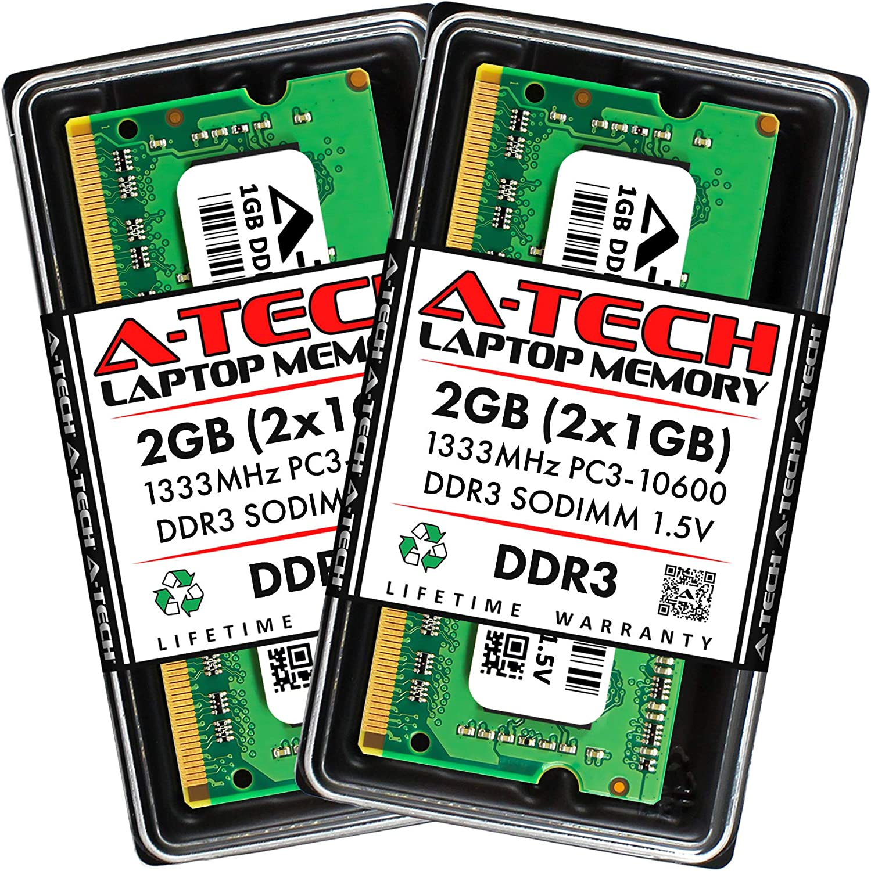 A-Tech 2GB (2 x 1GB) DDR3 1333MHz PC3-10600 Laptop RAM SODIMM Kit   1.5V Non-ECC Unbuffered 204-Pin Memory Upgrade Modules