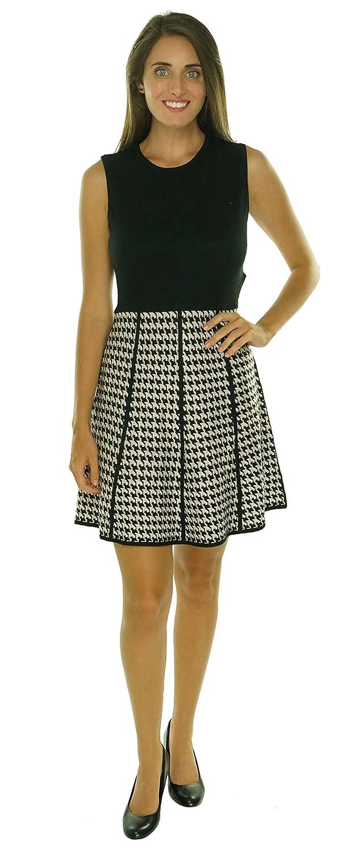 Calvin Klein Women\'s Knit Houndstooth Print Sleeveless Dress