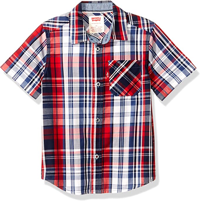 Levis Varones Short Sleeve Button Up Shirt Manga Corta Camisa de Botones: Amazon.es: Ropa y accesorios