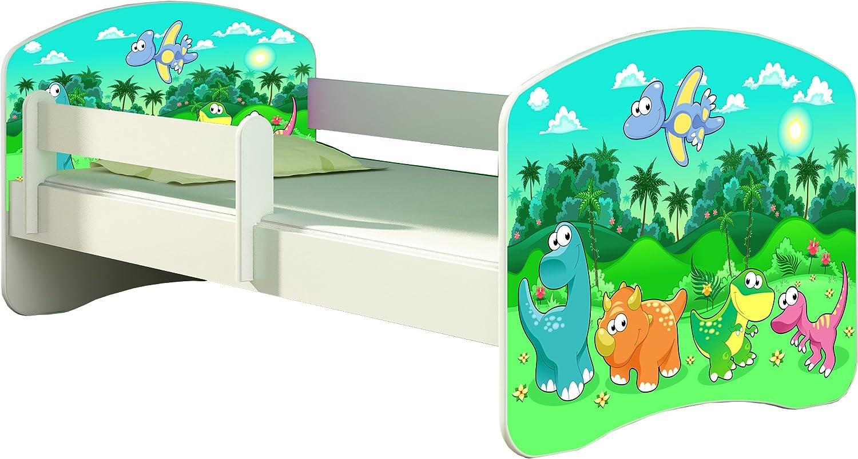 Letto per bambino Cameretta per bambino con materasso Cassetto ACMA II 30 Dinosauri, 160x80