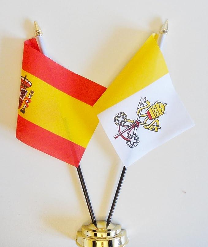 España y ciudad del Vaticano amistad Bandera de mesa pantalla 25 ...