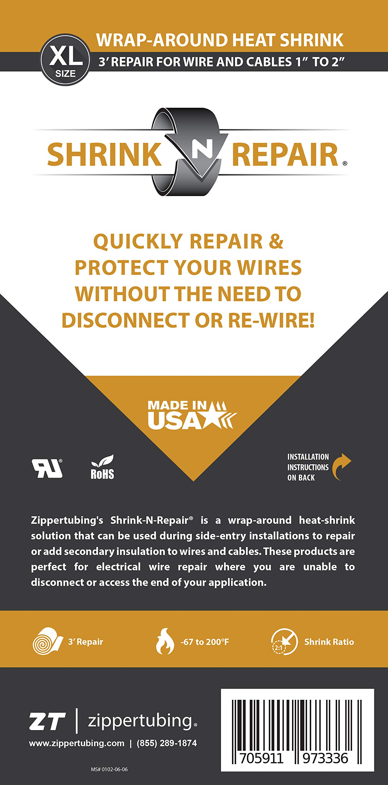 Shrink-N-Repair (XL) - Wrap Around Heat Shrink for 1'' to 2'' Diameter Wires - 36'' Long