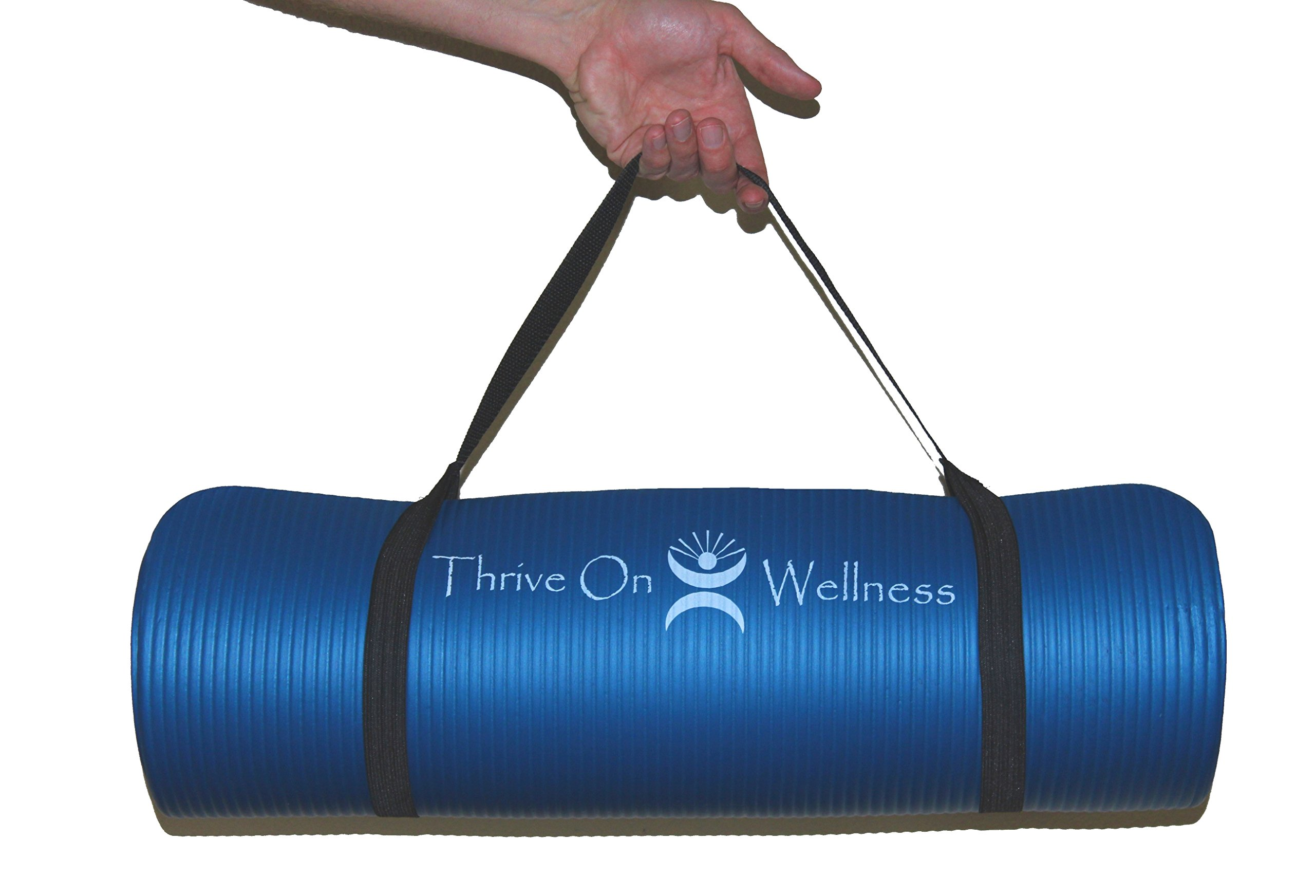 Thrive On Wellness Thick Exercise Mat With Carry Strap 72