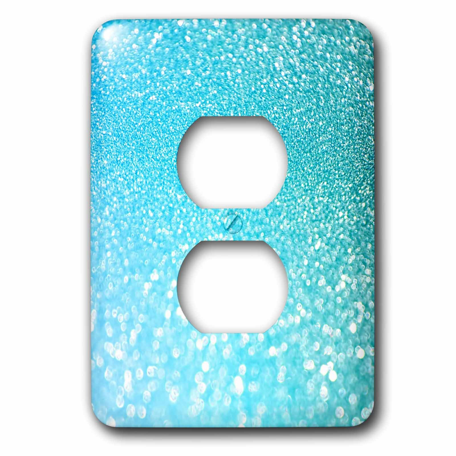 3dRose LSP_266925_6 Sparkling Beach Teal Luxury Elegant Mermaid Glitter Effect Art Print Plug Outlet Cover, Multicolor