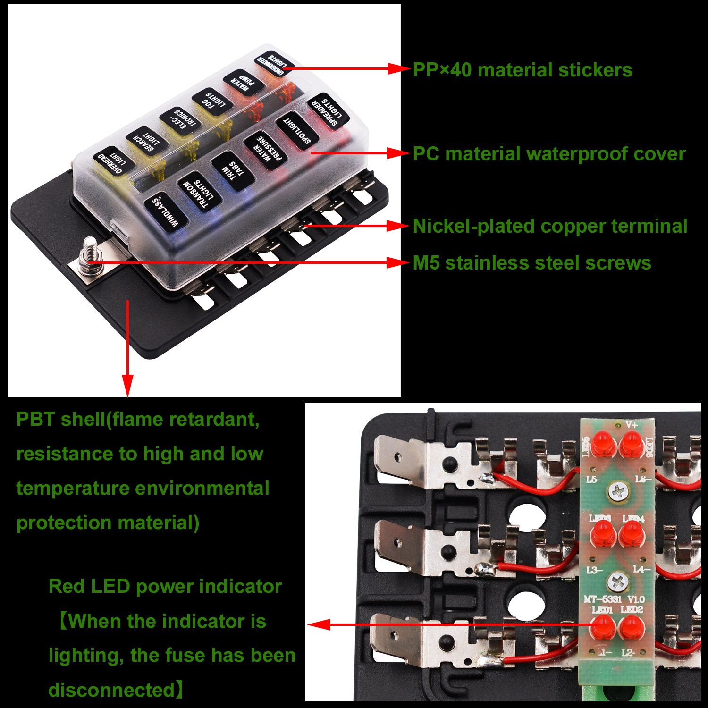 12 Ways LED Warning Blade Fuse Box Holder Fuse Block for Car, Boat, Marine Trike (Plate Copper Terminal) by Genuiskids (Image #4)