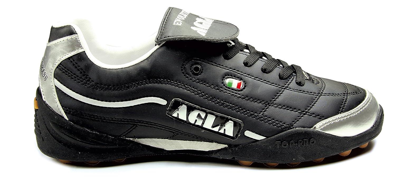 a847384b1 AGLA PROFESSIONAL EVOLUTION TOP 2 OUTDOOR scarpe calcetto futsal calcio a 5  anti-shock system (41, black/silver): Amazon.it: Scarpe e borse