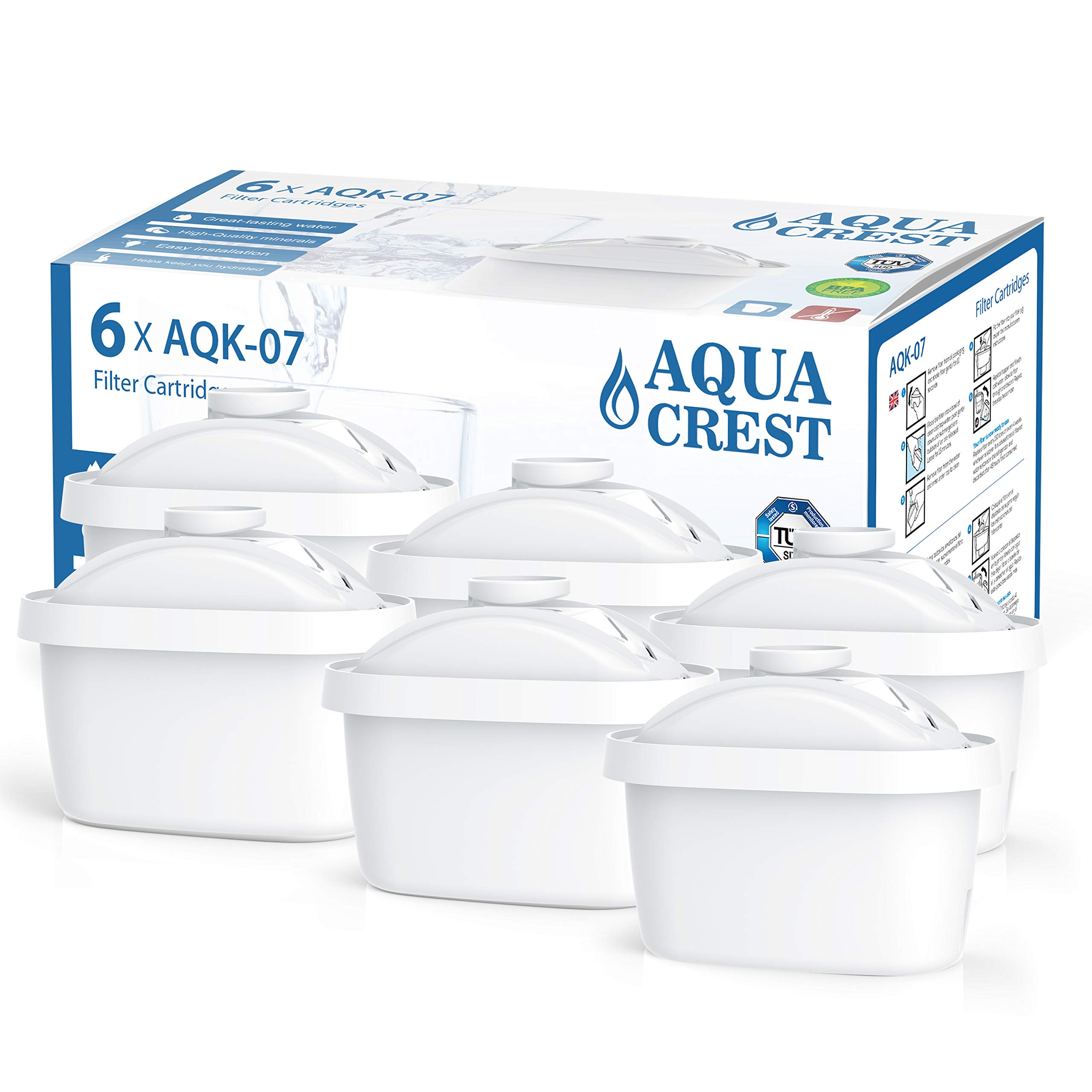 AQUACREST TÜV SÜD Certified Maxtra Refill Catridge, Removes Lead, Arsenic and More, Compatible with Brita Mavea Maxtra, Maxtra+, 105731, 1001122 (Pack of 6) by AQUA CREST