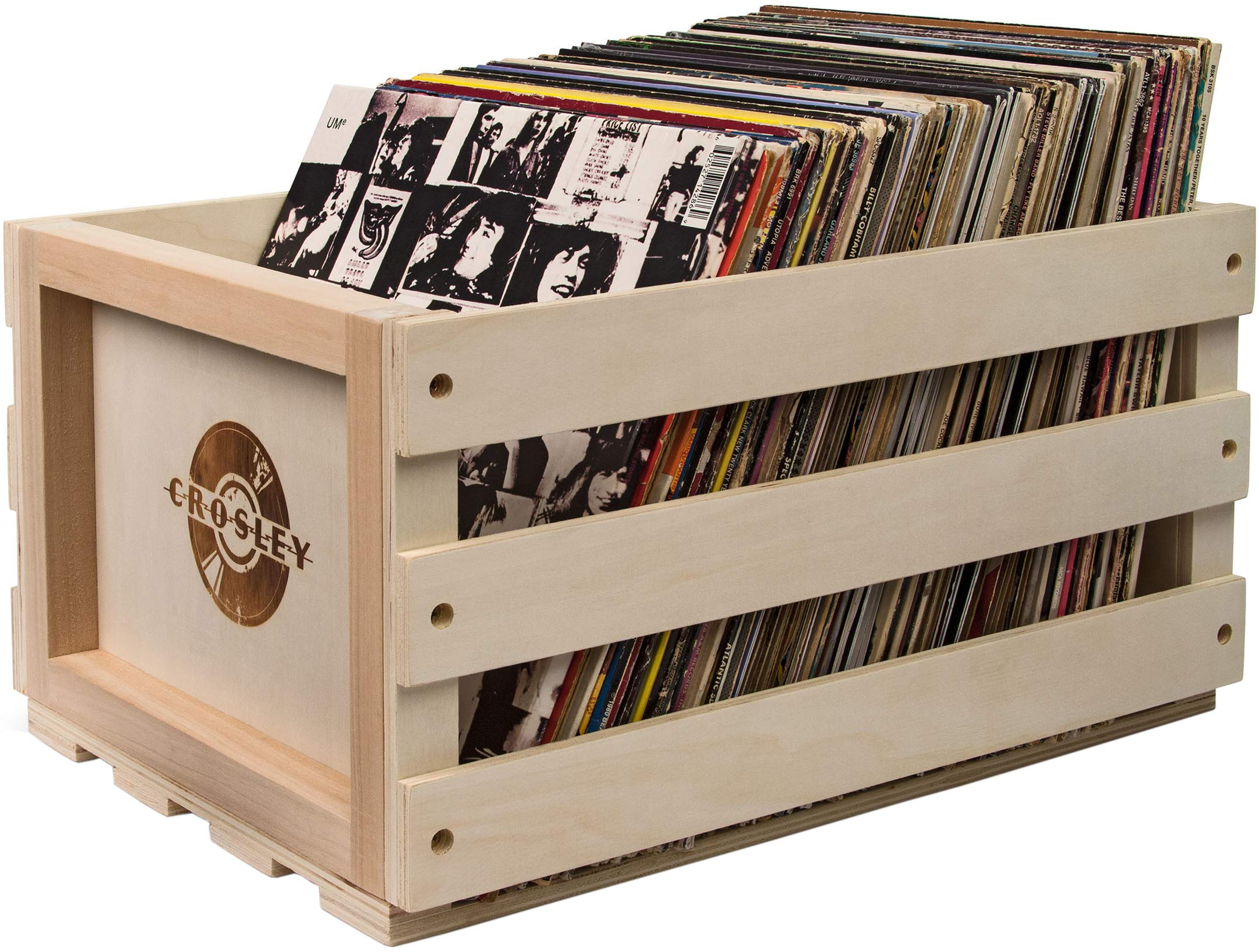 Crosley AC1004A-NA Record Storage Crate Holds up to 75 Albums, Natural by Crosley