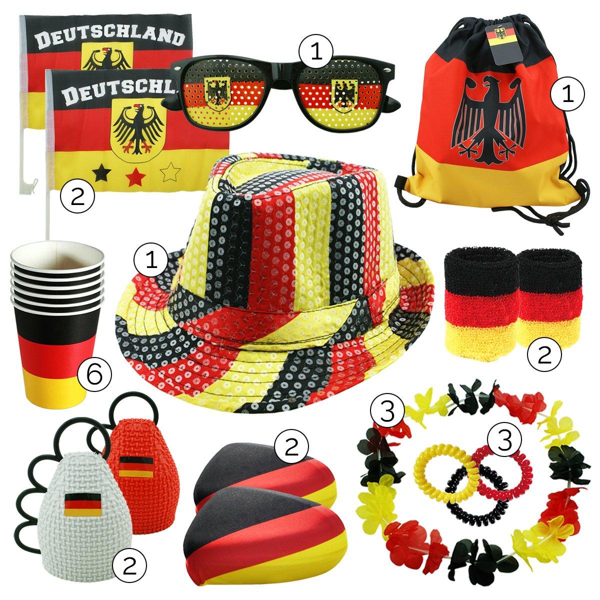 int!rend Fanartikel Deutschland WM Set, 23 Stück, Fanset zur Fußball Weltmeisterschaft 2018 in Russland, Fussball Fan Artikel