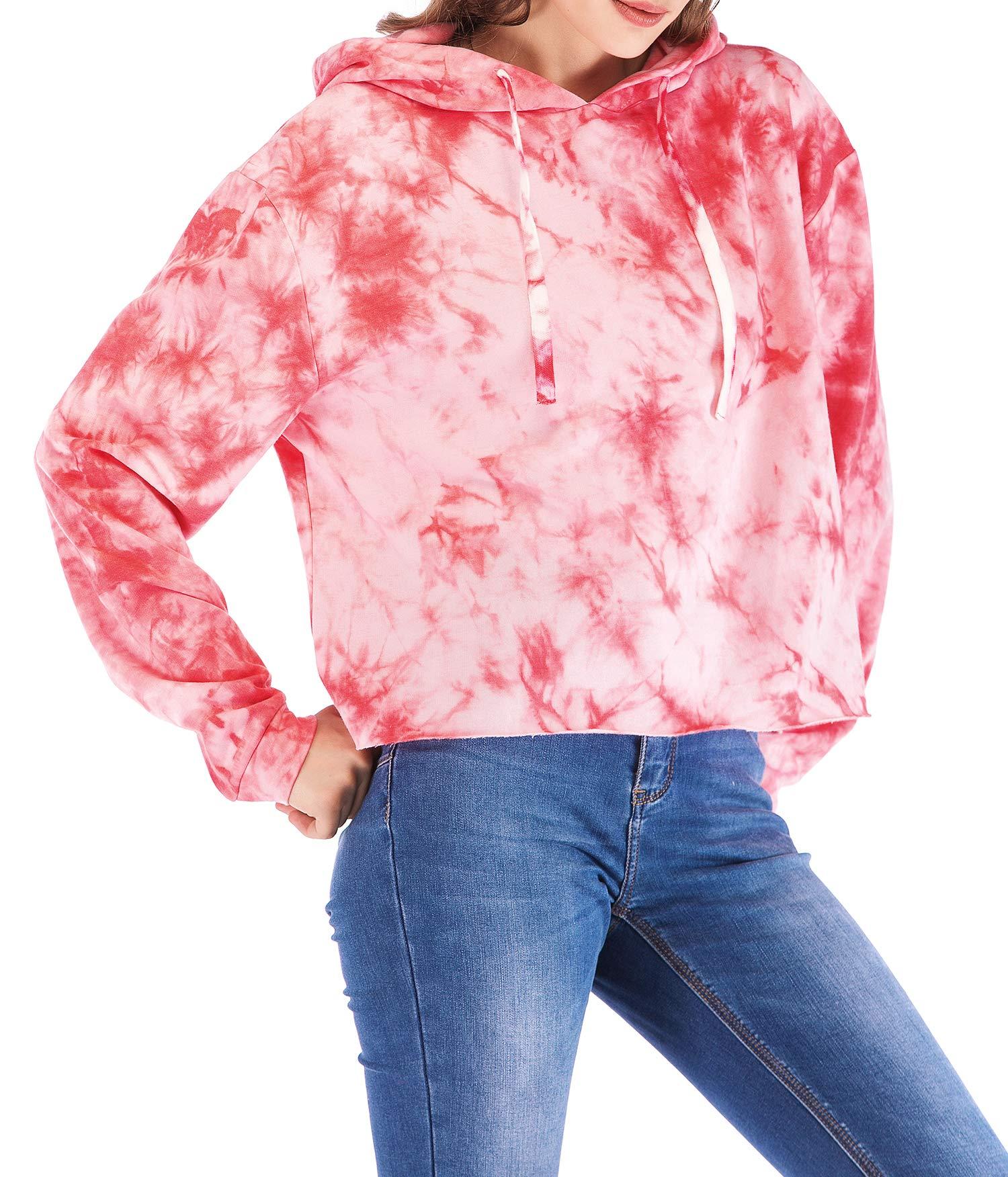 Eanklosco Femmes Tie Dye Sweat imprimé Casual Manche Longue Hauts Cordon de Serrage Sweat à Capuche T-Shirt Chemisier Arrêtez-Vous (Rose, Large/FR40)