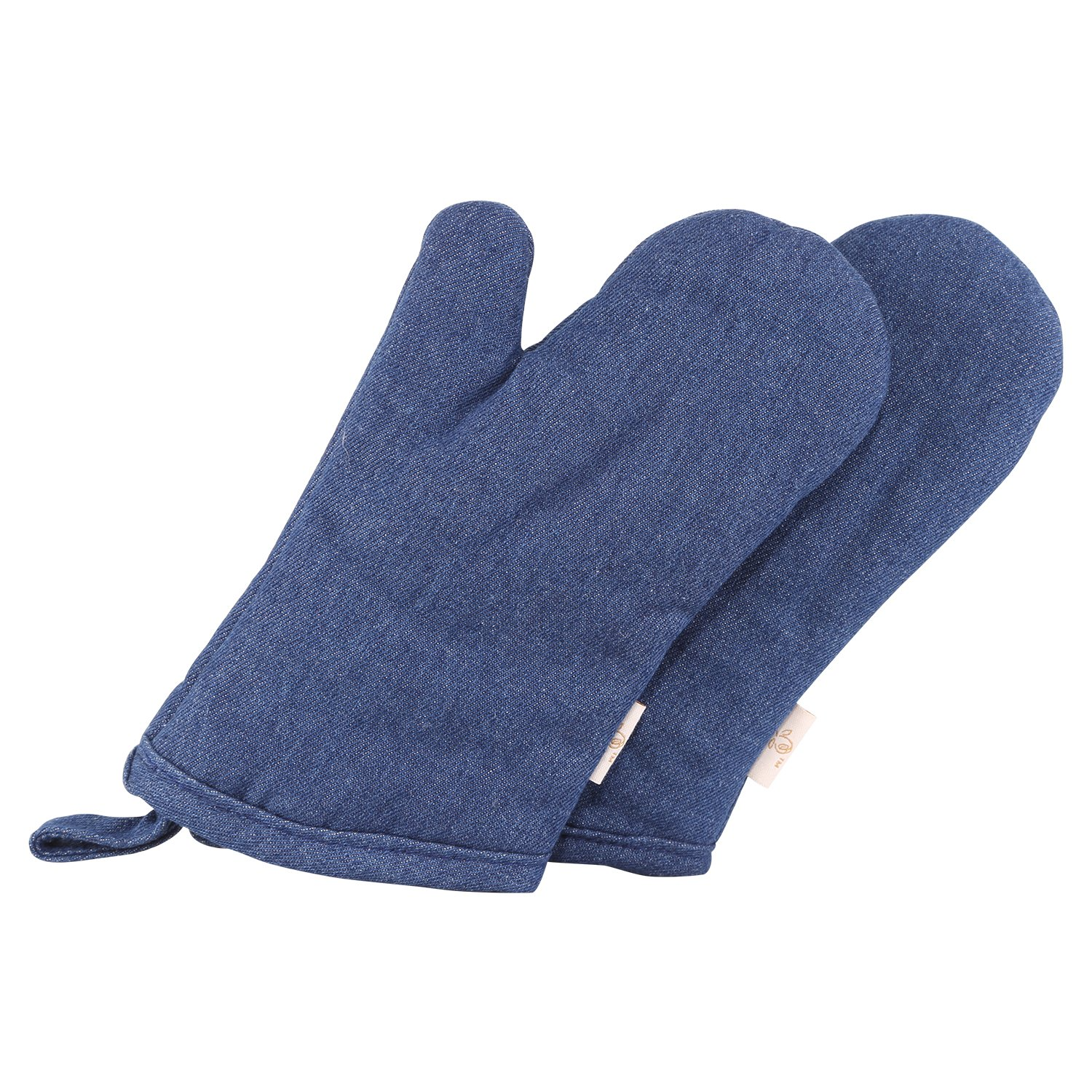 NEOVIVA Cotton Denim Quilting Kitchen Oven Gloves for Kids, Set of 2, Solid Indigo Blue