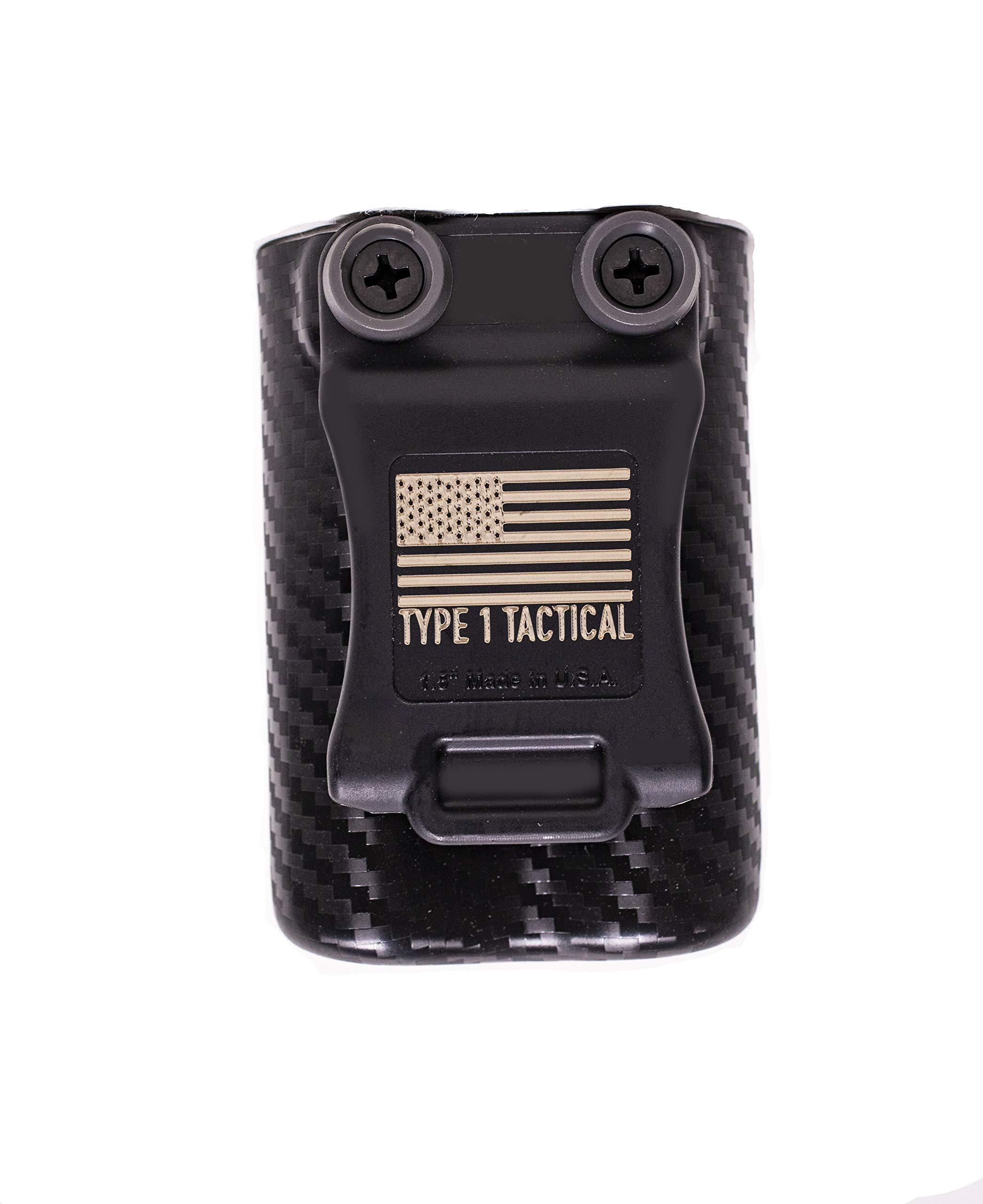 Type 1 Tactical Insulin Pump Holster (Medtronic 670G Stealth Holster with 1.5 Inch Vertical Clip) - SAY Goodbye to Broken Clips! (Black Carbon Fiber)