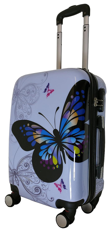 Koffer Schmetterling Butterfly leicht violett Größe XL Carbon / Hartschale Reisekoffer Trolley Case Fa. Bowatex