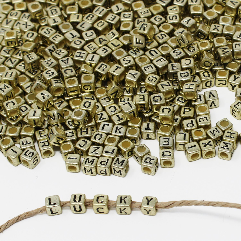 Gold Black ESUMIC/® 500PCS 6mm Acrylic Plastic Letter Beads Colorful Spacer Cube Alphabet Beads for DIY Bracelets Necklaces Chains