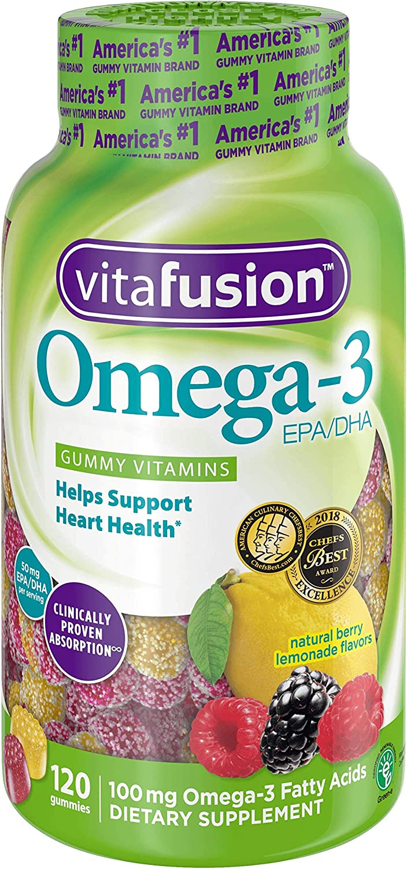 (2 Pack) Vitafusion Omega-3 Gummy Vitamins, Berry Lemonade, 120 ct