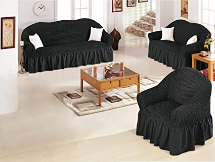 Bedding and Linen Universal Elastic 3 Piece Sofa Cover Set, Ultra Soft,  Stretchable Couch, Love Seat, and Single Sofa Protectors, Fits Most Sizes,  ...