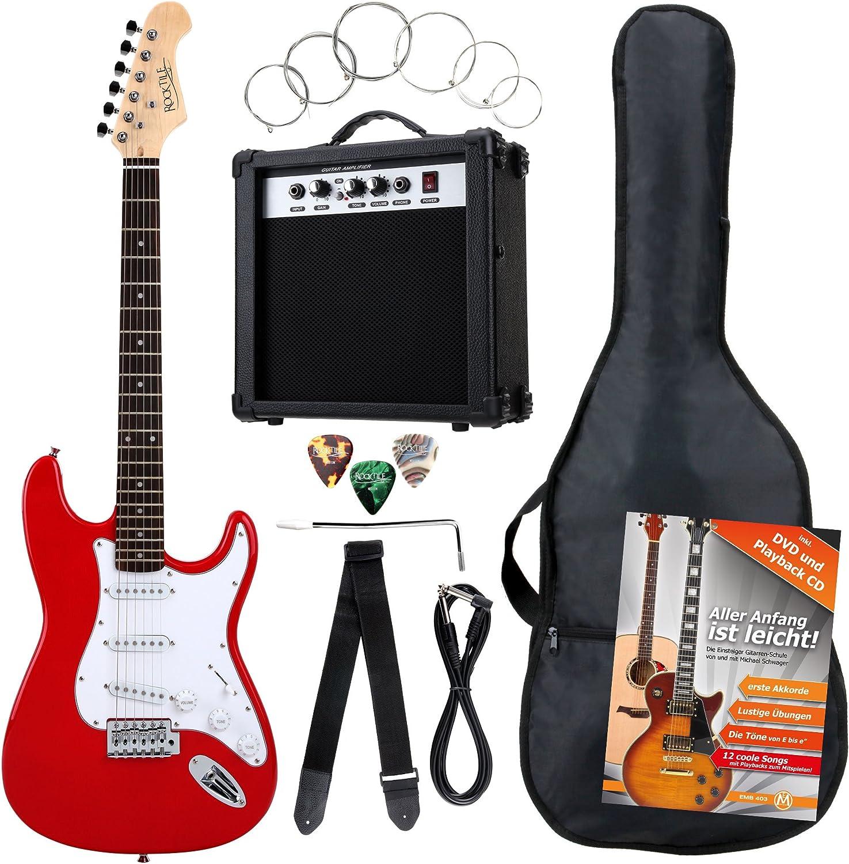 Rocktile Banger's Power Pack 36283 - Guitarra eléctrica, set de 8-piezas, color rojo