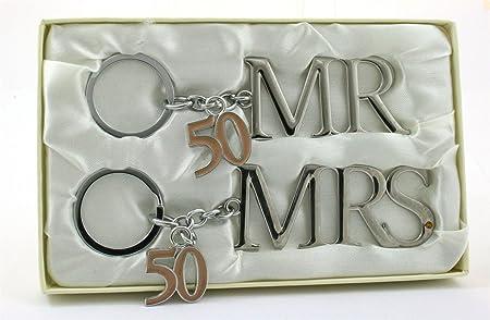 Silver plated mr mrs keyring th golden wedding anniversary