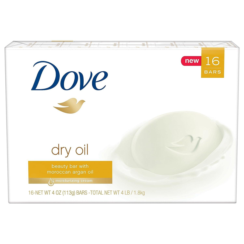 Dove Beauty Bar, Dry Oil 4 oz, 16 Bar