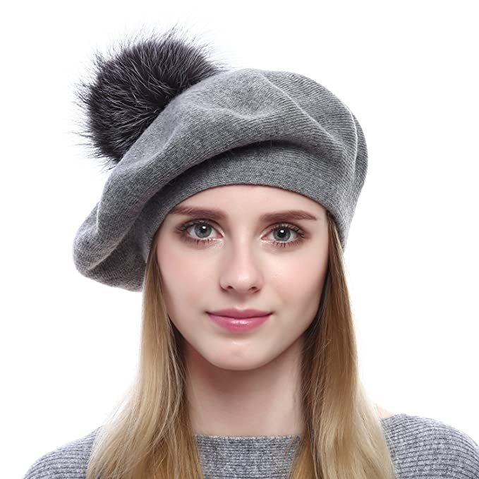 023c34caeefe1 Queenfur Women Wool Beret - Real Silver Fox Fur Pom Pom Beanies Winter Knit  Cashmere Hats