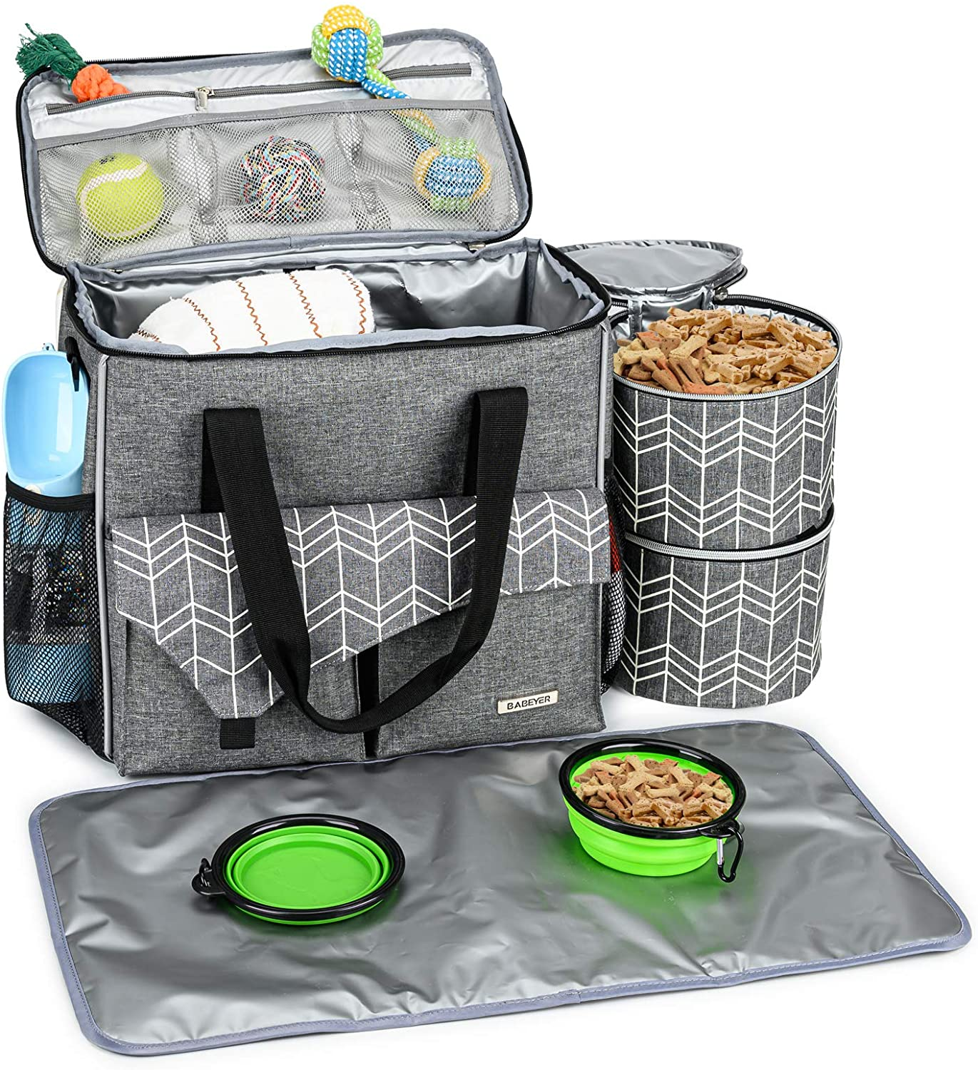 BABEYER Dog Travel Bag with Multi-Function Pockets with Food Container Bag and Collapsible Bowl Included, Perfect for Dogs on The Go