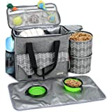 BABEYER Dog Travel Bag with Multi-Function Pockets with Food Container Bag and Collapsible Bowl Included, Perfect for Dogs on