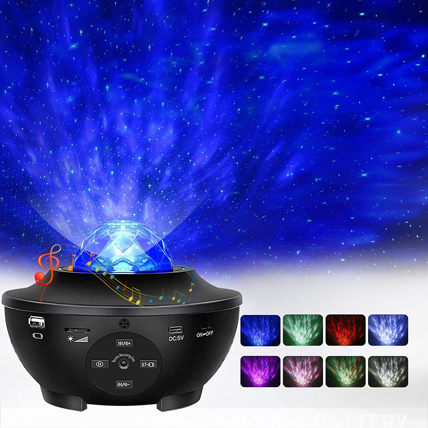 Star Projector, Ocean Wave Night Light Projector with Adjustable Lightness Remote Control Timer 10 Lighting Modes Built-in Music Speaker Galaxy Light for Kids Adult Bedroom Living Room