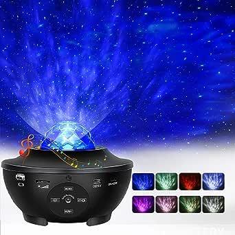 Star Projector, Ocean Wave Night Light Projector with Adjustable Lightness Remote Control Timer 10 Lighting Modes and Built-in Music Speaker for Kids Adult Bedroom Living Room