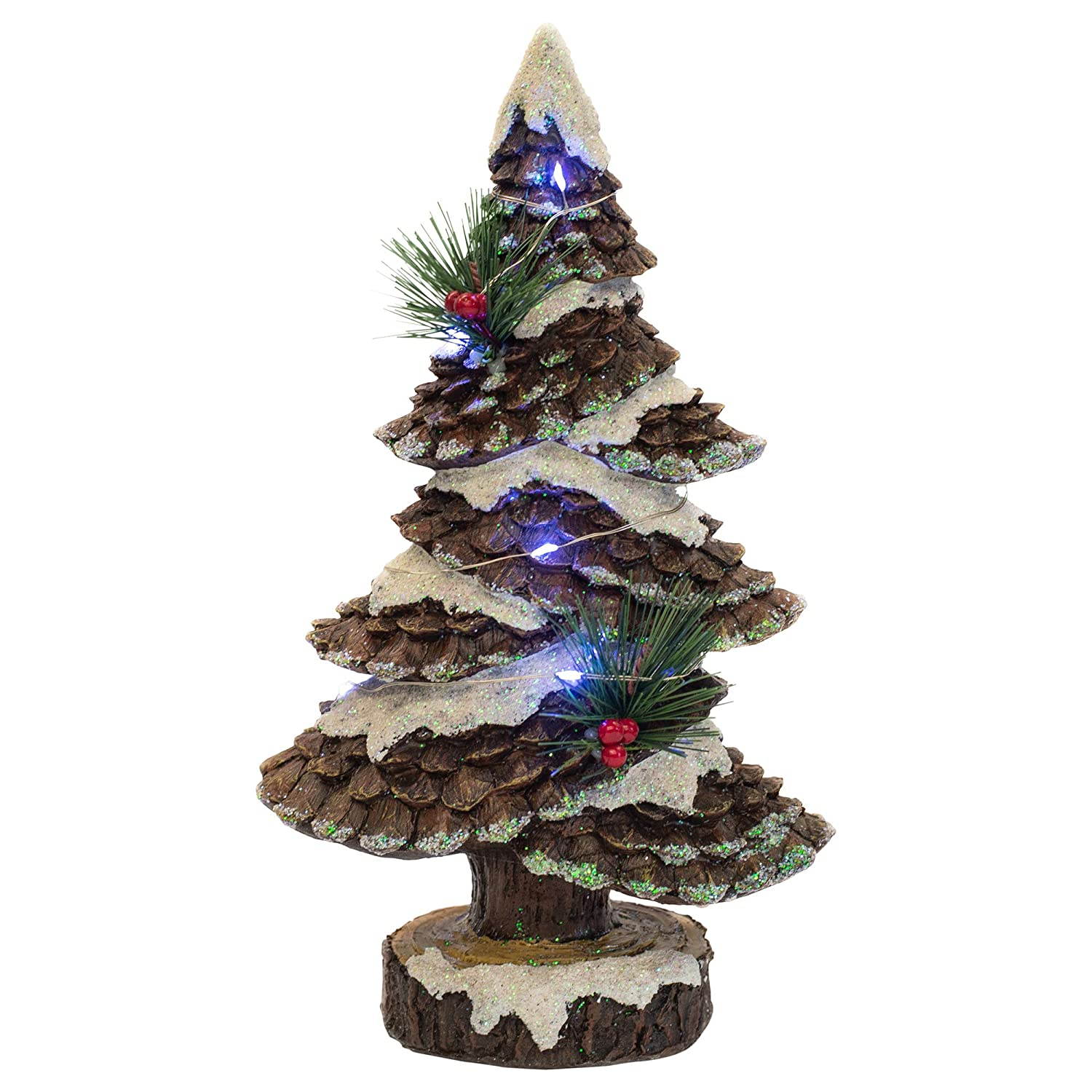 Delton Products LED Pinecone Tree 7 Inches x 13 Inches Resin Home and Garden Decor