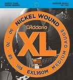 D'Addario EXL160M XL Nickel Wound Medium  (.050-.105) Medium Scale Electric Bass Guitar Strings