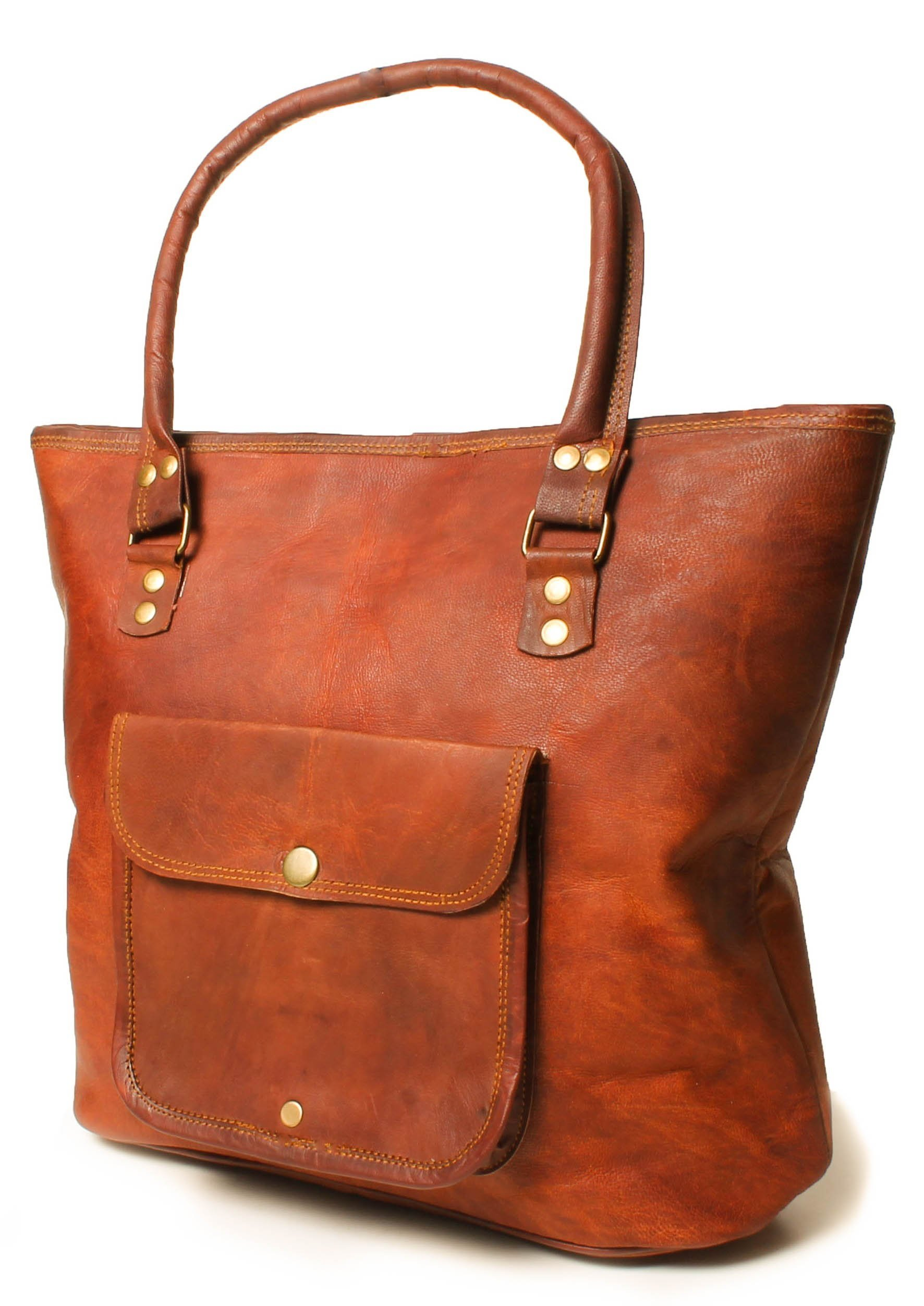 Artishus Womens Genuine Vintage Leather Handbag | 15 Inch Woman Bag | Style Satchel Tote Bag