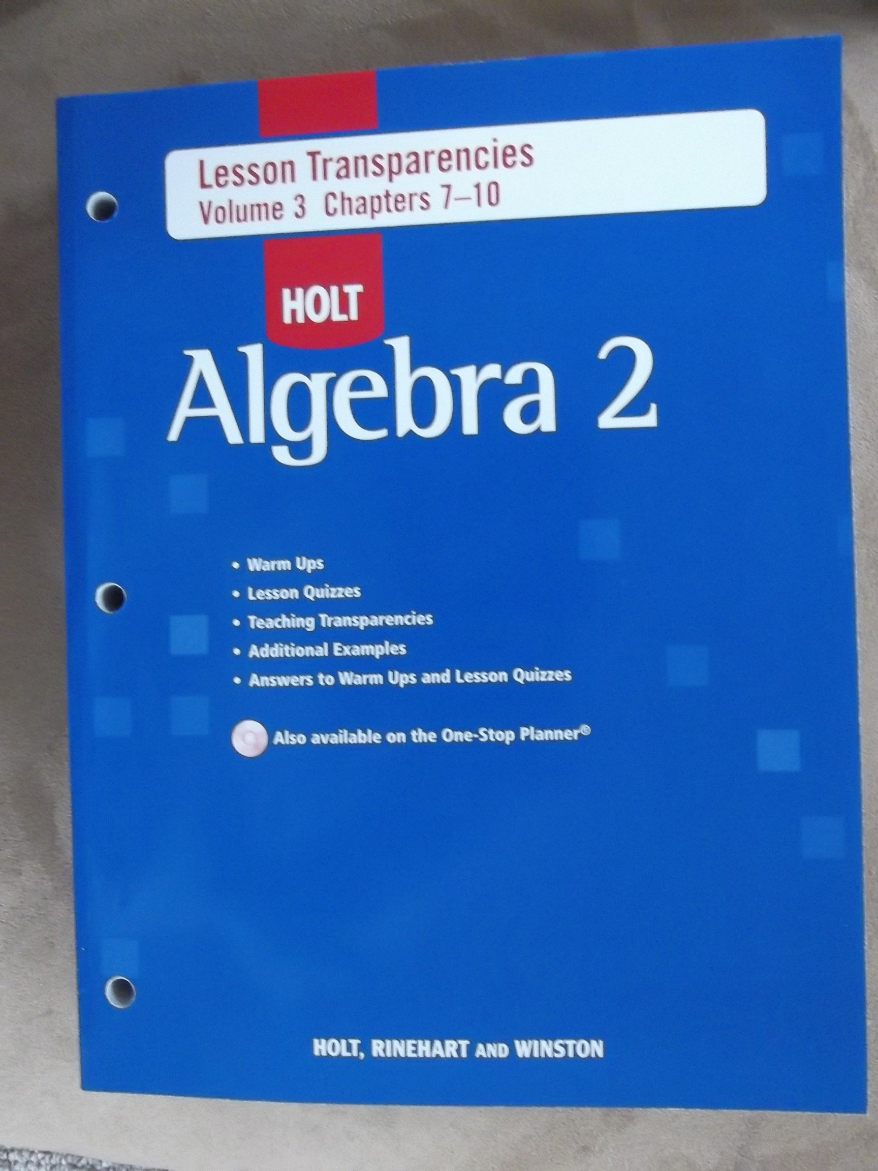 Holt Algebra 2 Lesson Transparencies Volume 3 Chapters 7-10