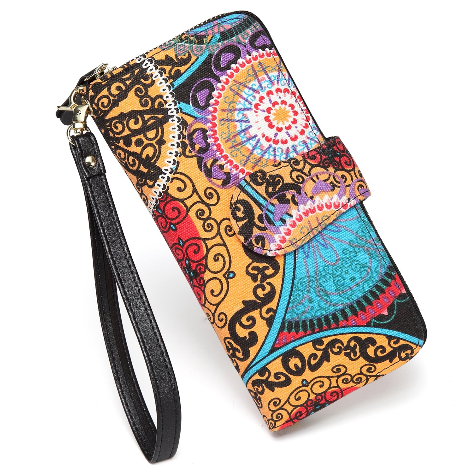 SANSARYA Boho Wristlet Zipper Women Wallets Bifold Snap Ladies Canvas Clutch Wallet with Strap,Large Capacity