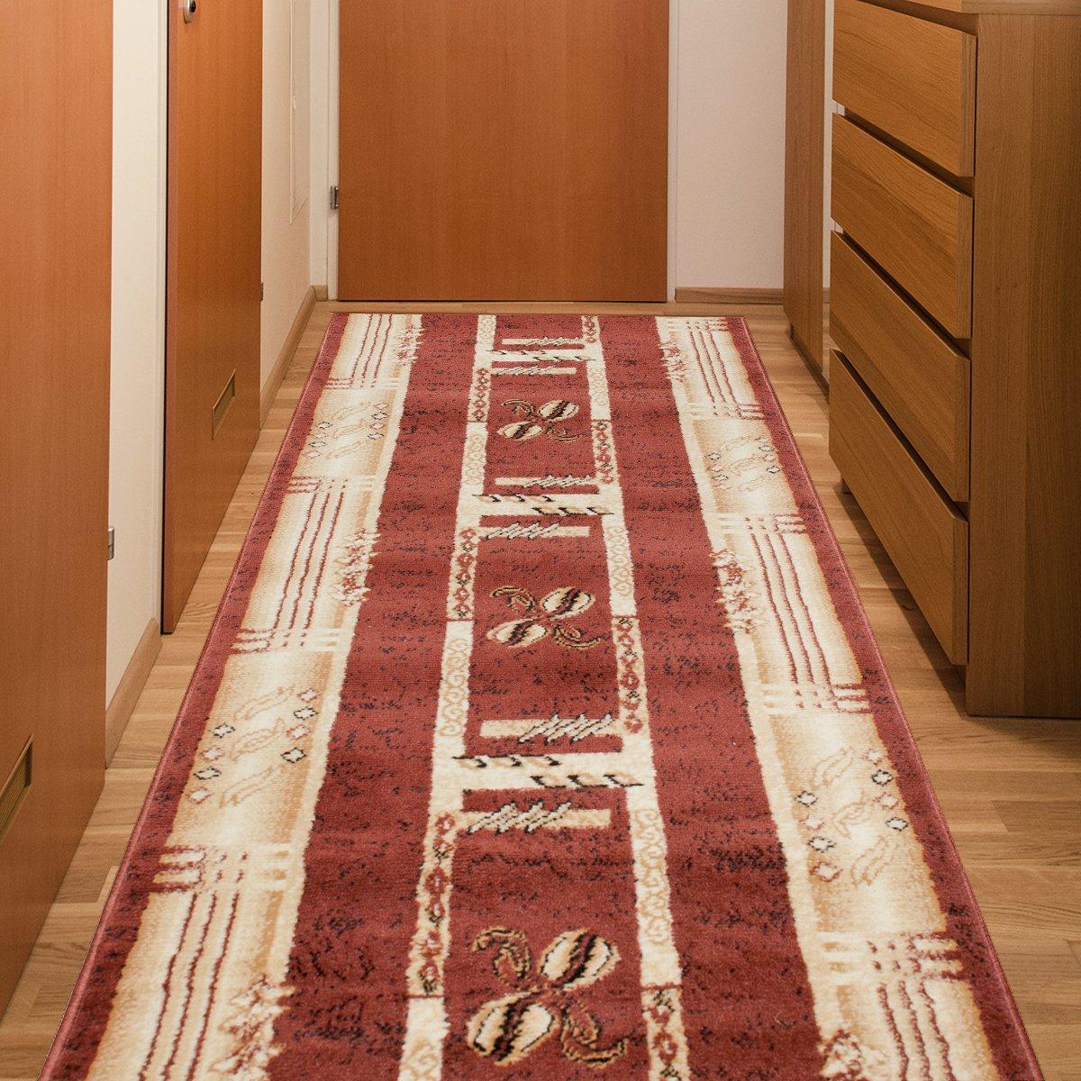 Tapiso Atlas Läufer Flur Kurzflor Teppich Küche Wohnzimmer Viereck Streifen Kaffee Retro Abstrakt Muster Braun Beige Meliert ÖKOTEX 80 x 450 cm