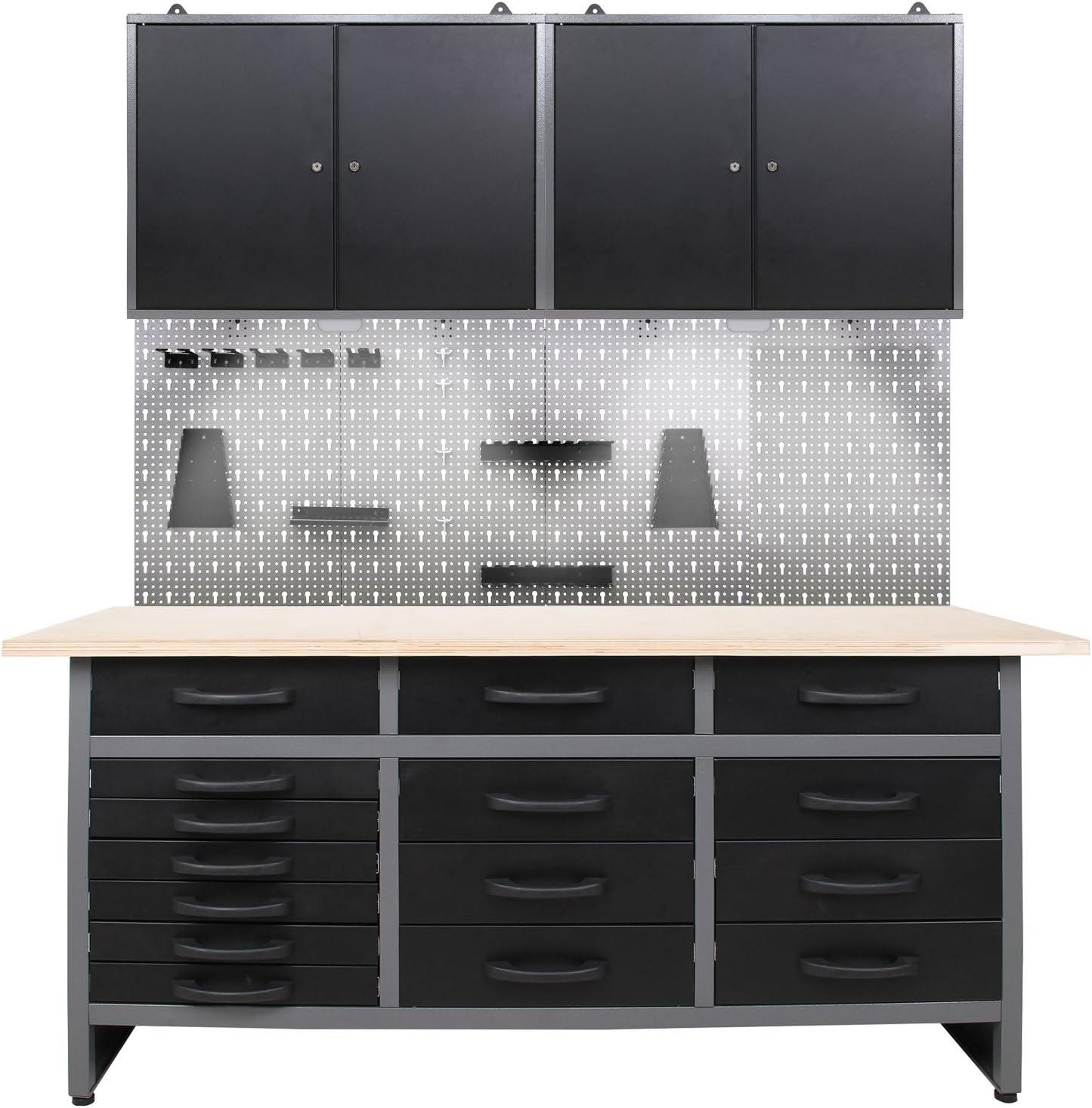 Taller Herramienta de Configuración, 170 cm de ancho, banco de trabajo/armario/herramienta de pared – con iluminación LED: Amazon.es: Bricolaje y herramientas