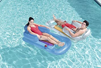 ba6646322cff3 Happy Hot Tubs 61'' Inflatable Luxury Fashion Lounger Seat Swimming Pool  Beach Cup Holder