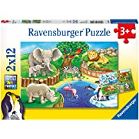Ravensburger Animals in The Zoo Puzzle 2x12pc,Children's Puzzles