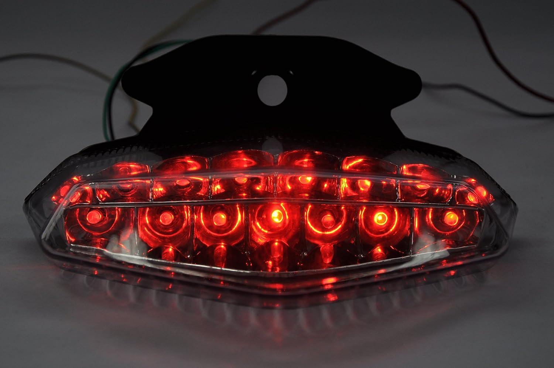 Topzone Moto claro lente motocicleta LED Faros traseros para luz trasera de freno con integrado Turn Signal Lamp Indicadores para Ducati 2009-2012 Hypermotard