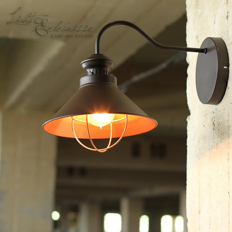 Vintage Wandleuchte chocolate   1x E27 bis max. 60W 230V   Wandlampe Industrie-Design Retro Loftlampe Wohnzimmer Beleuchtung innen