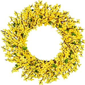 "DearHouse Artificial Forsythia Flower Wreath - 17.5"" Yellow Flower Door Wreath Fake Flower Spring/Summer Wreath for Front Door Wedding Home Decor"