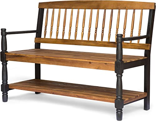 Christopher Knight Home Eddie Indoor Farmhouse Acacia Wood Bench with Shelf, Teak and Black Finish