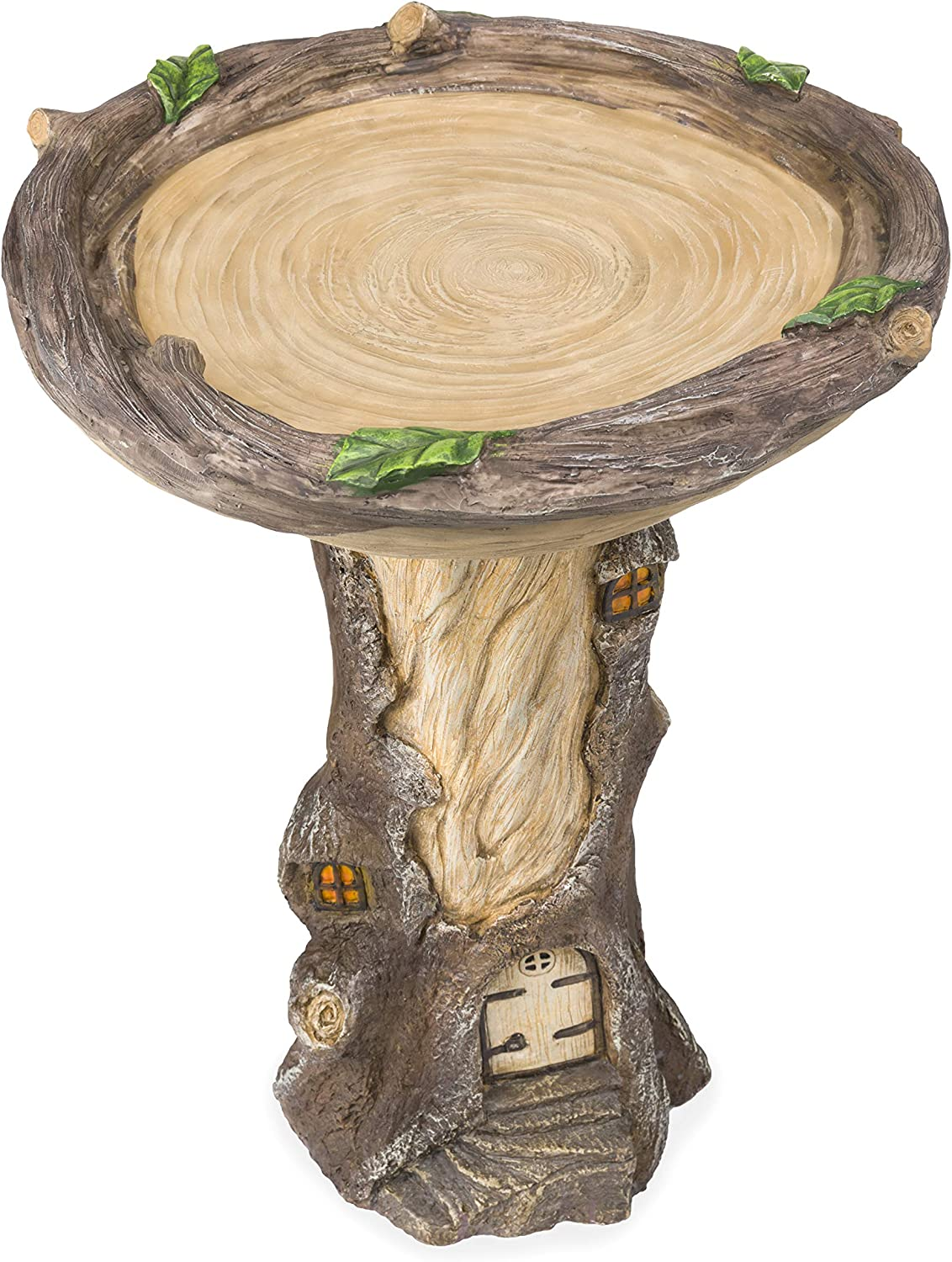 "Plow & Hearth Full-Size Fairy Garden Birdbath with Miniature Fairy House in A Tree Stump, Hand-Painted All-Weather Wood-Look Resin Landscape Accent, 18"" Dia. x 23½""H"