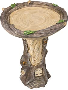 """Plow & Hearth Full-Size Fairy Garden Birdbath with Miniature Fairy House in A Tree Stump, Hand-Painted All-Weather Wood-Look Resin Landscape Accent, 18"""" Dia. x 23½""""H"""